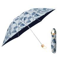 フェリシモ IEDIT[イディット] SELECT korko ラインフラワー模様の 晴雨兼用折りたたみ日傘〈ブルー〉