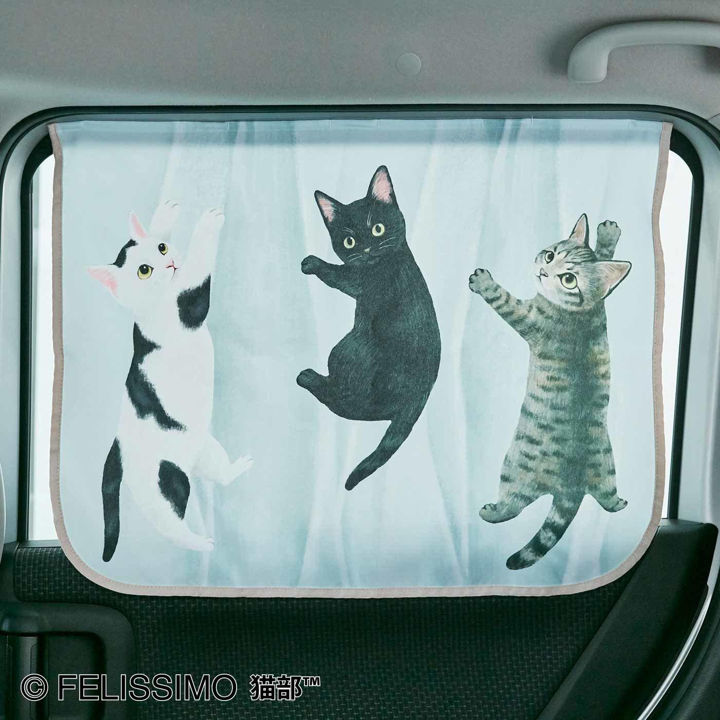 猫が車の中でかくれんぼ 車用カーテン〈ブルー〉