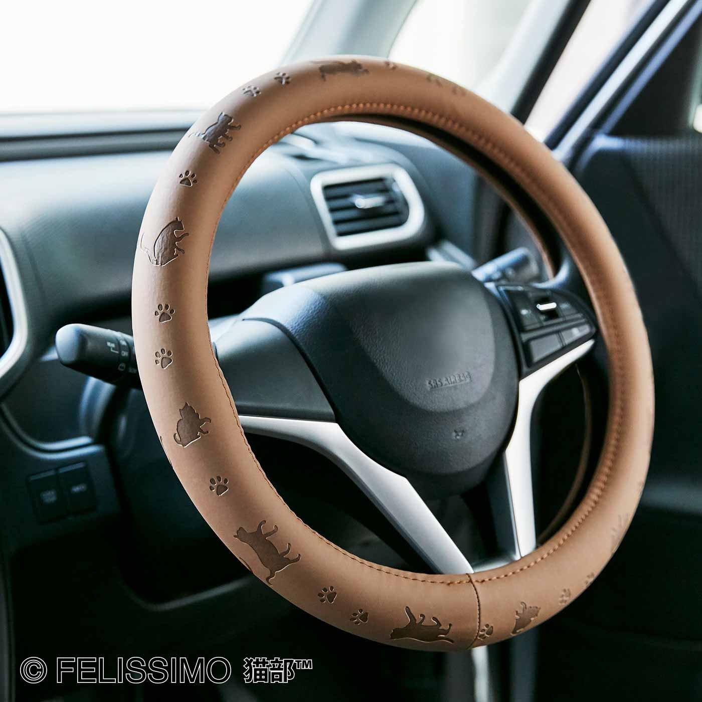 猫が車の中でかくれんぼ ハンドルカバー〈ブラウン〉
