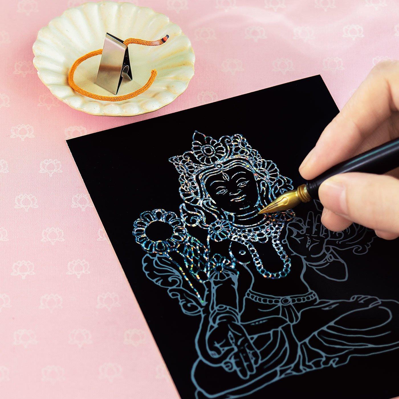 フェリシモのミニツク「おてらぶ スクラッチアート 削仏プログラム」楽しい