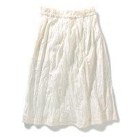 <フェリシモ>.fr シルク混素材のソフトリンクルスカート(ホワイト)【送料無料】