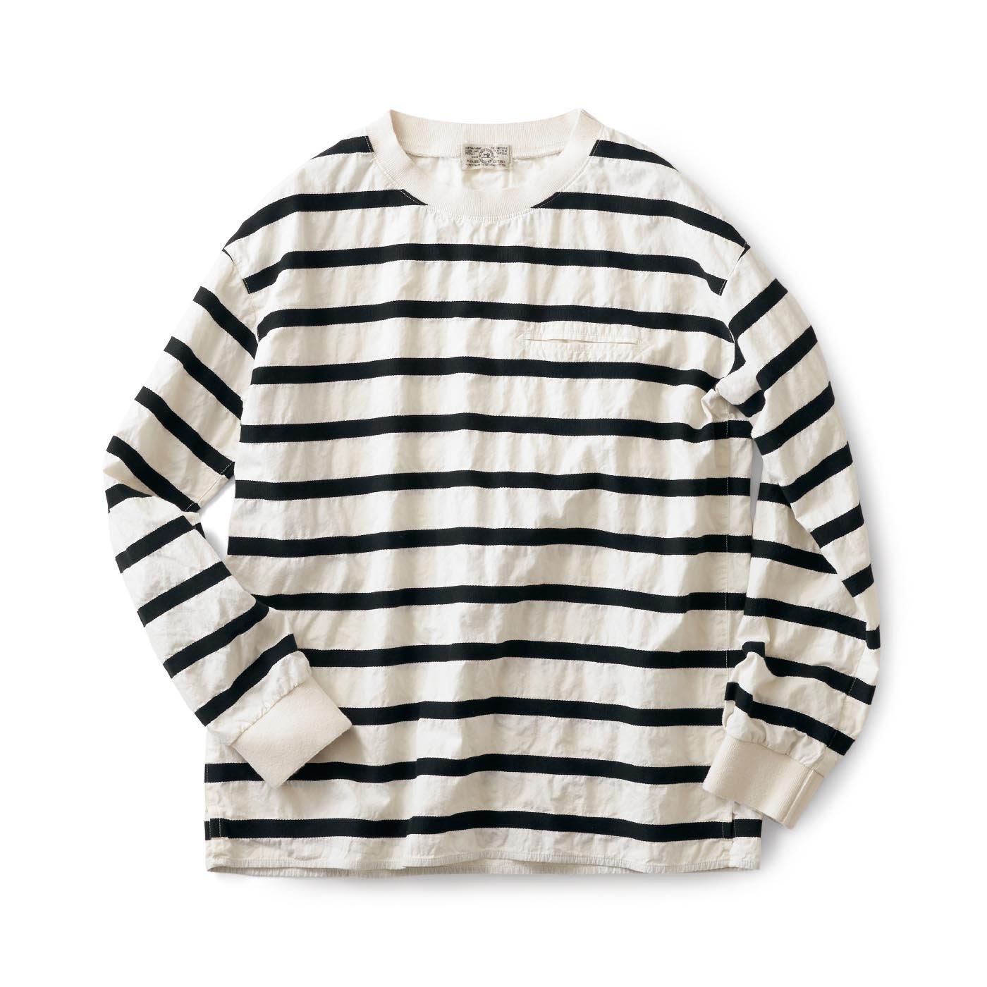 サニークラウズ 変わり織りボーダーTシャツ白