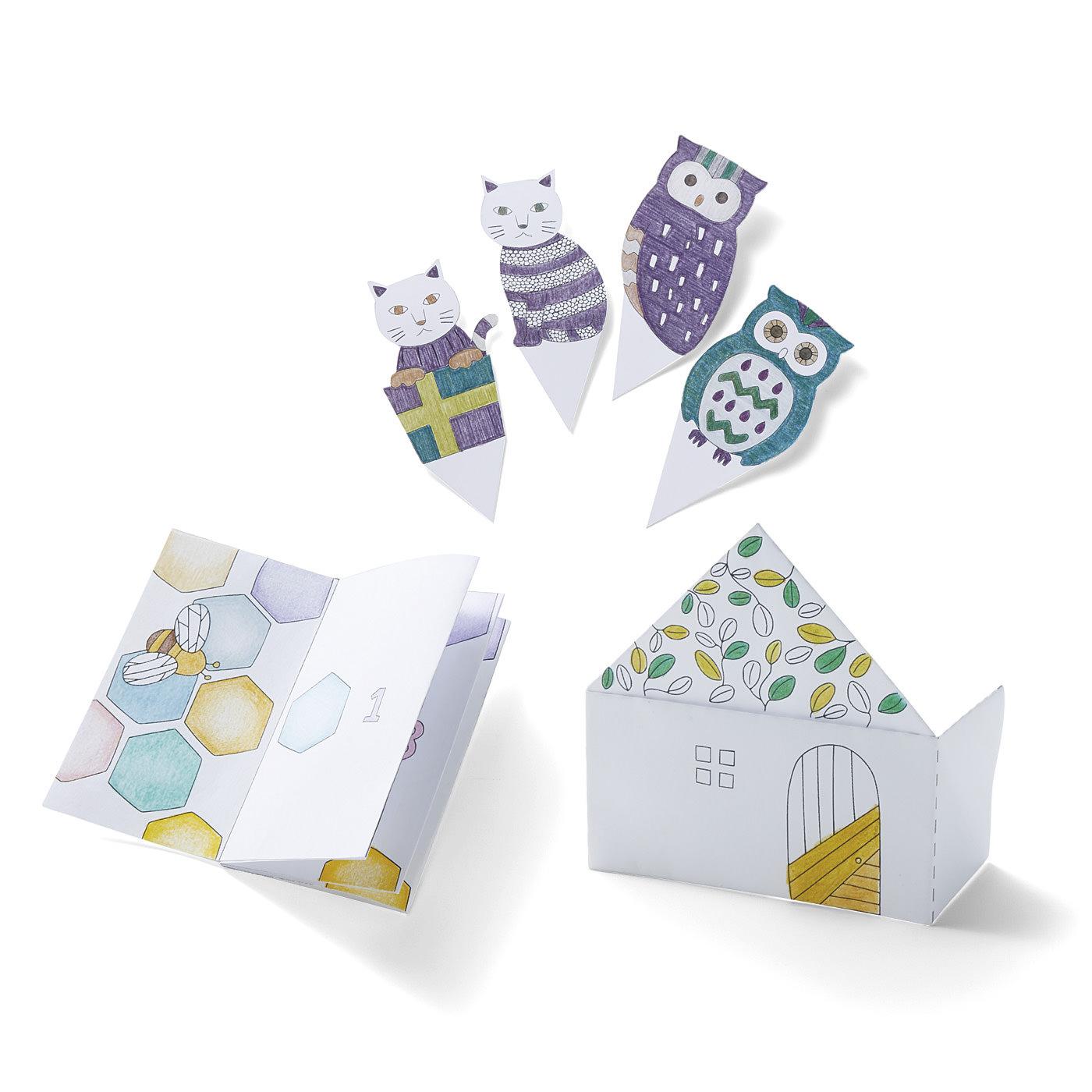 色をぬって手づくりする、楽しいペーパークラフトも毎月届きます。メッセージカード、ラッピンググッズやモビールなど、色えんぴつを使い始める第1歩として小さな作品づくりが楽しめます。