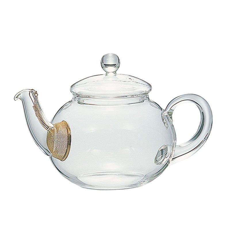 茶葉がジャンピングしやすいコロンとした形 茶こし付きティーポット〈500ml〉