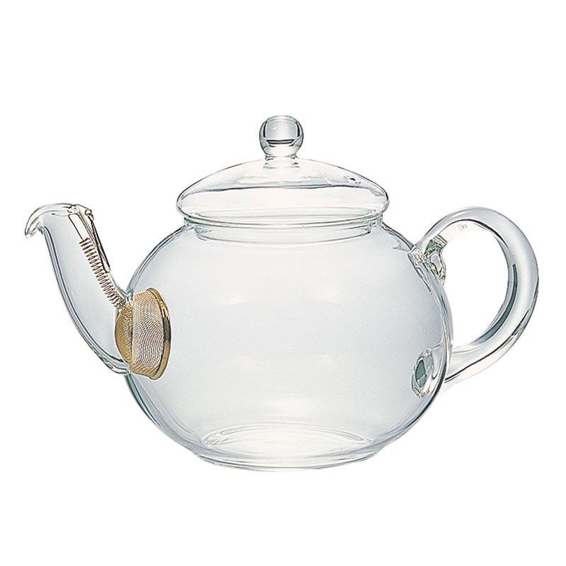 茶葉がジャンピングしやすいコロンとした形 茶こし付きティーポット〈800ml〉