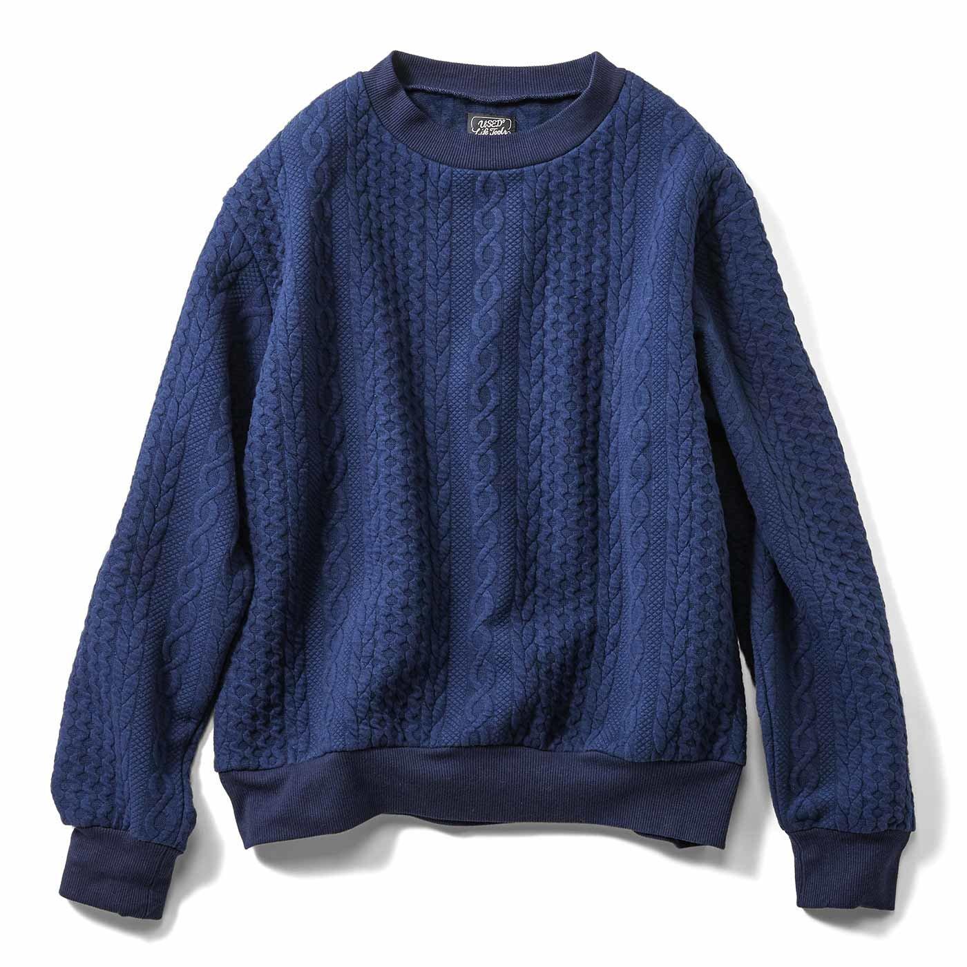 まるでセーターみたいなゆったりサイズの編み柄トレーナーの会