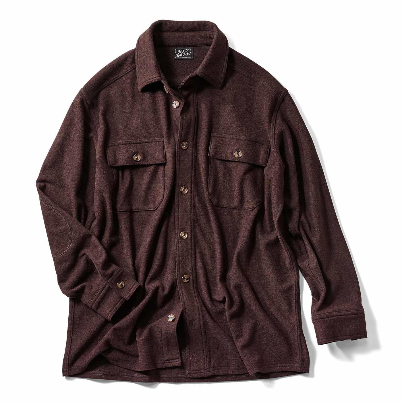 ウールシャツのような風合いの のびのびあったか起毛CPOシャツジャケット〈レトロブラウン〉