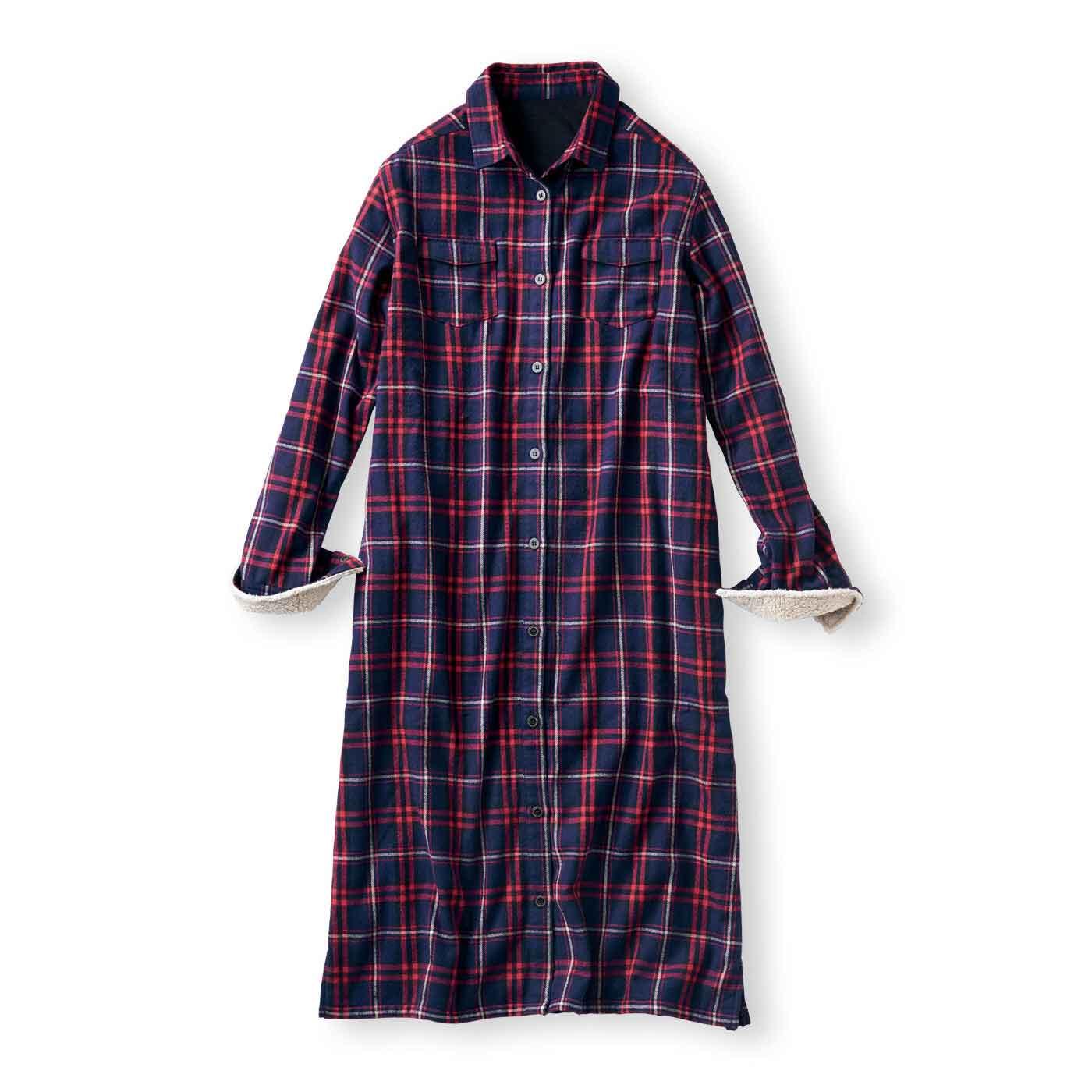 リブ イン コンフォート ワンピにもはおりにもなる サッと着て全身あったか 裏フリースチェックシャツワンピース〈ネイビー〉