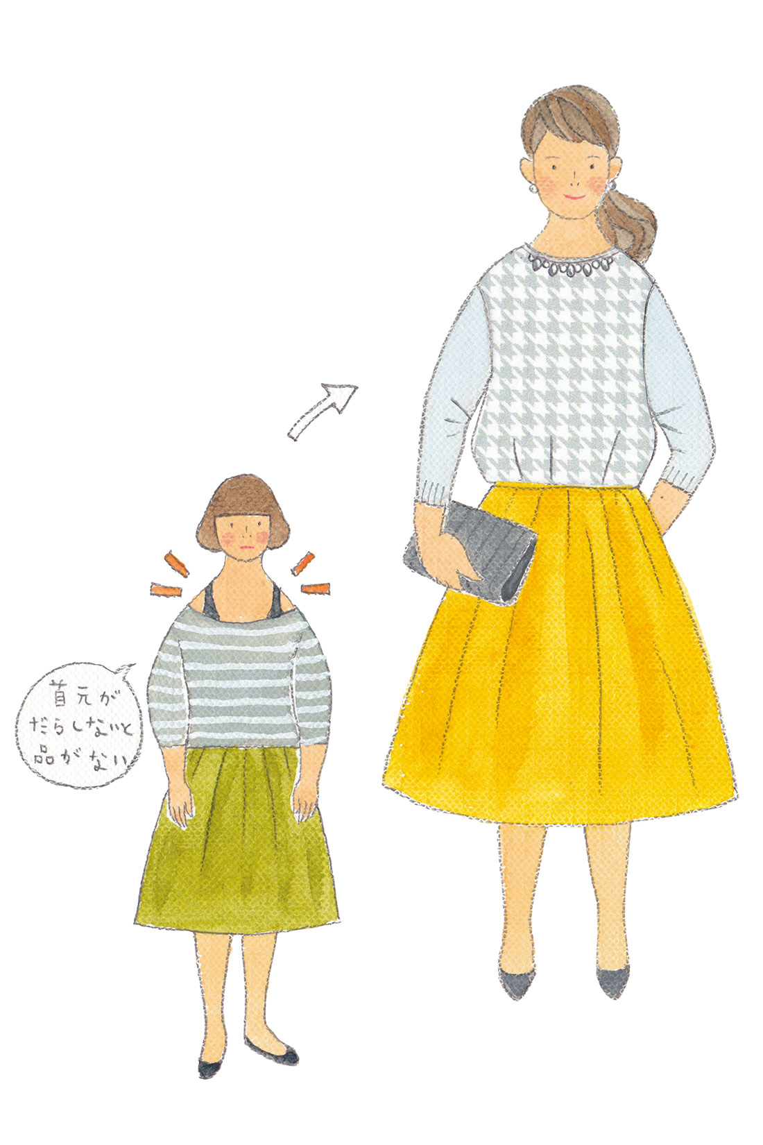 衿ぐりのビジューパーツで、アクセなしでもきちんと華やぎ、衿の詰まり具合もちょうどいい。