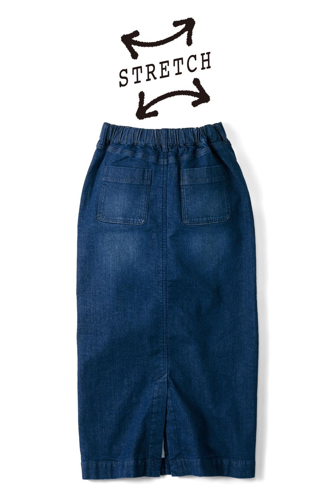 BACK 後ろヨーク+バックポケットで後ろ姿もスッキリ、美尻見せ。 締め付け感のない後ろゴム仕様。 ※お届けするカラーとは異なります。