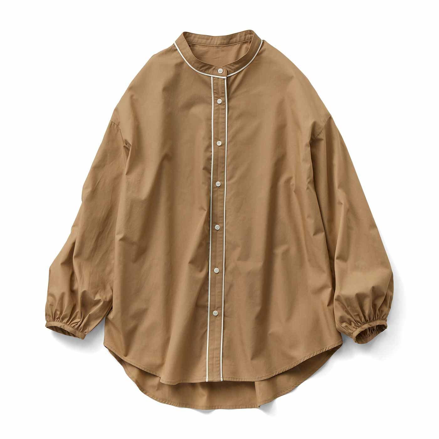 【3~10日でお届け】IEDIT[イディット] コーデのポイントになる きれいめパイピングシャツ〈ベージュ〉
