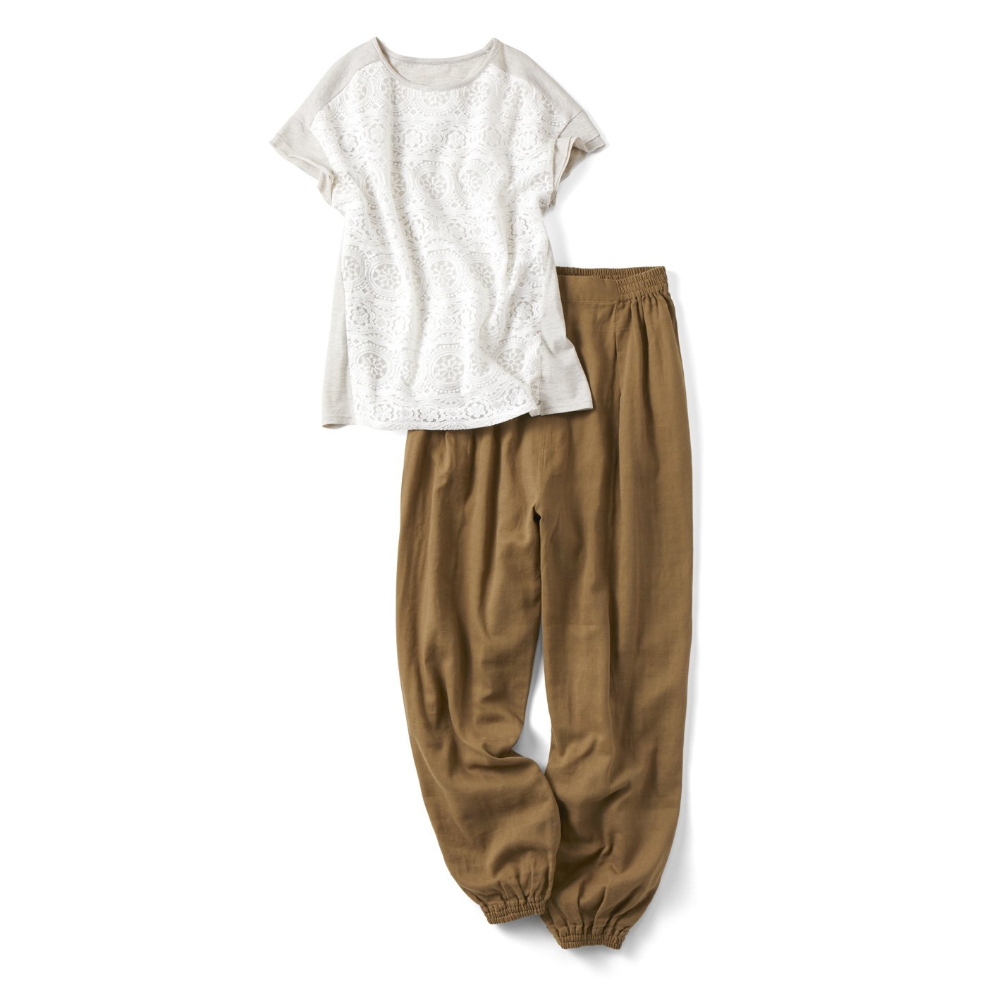 リブ イン コンフォート ダブルガーゼぷかパンツとレースTシャツでつくる 華やかリラックスコーデセット
