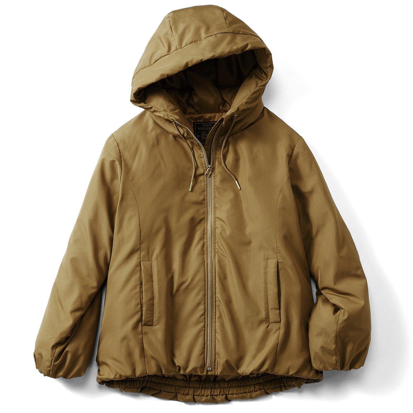 リブ イン コンフォート 気軽にはおれてしっかり暖か ショート丈フーディーダウンコート〈カーキ〉