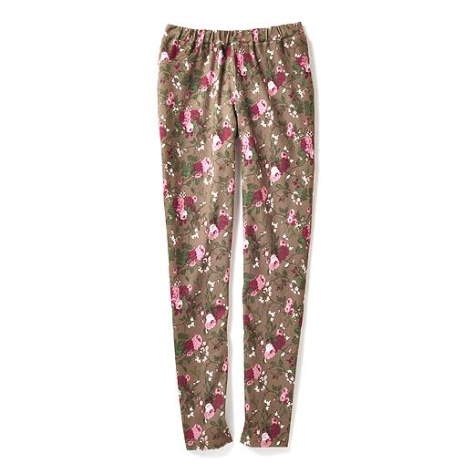 フレンチアンティークの雰囲気漂う 花柄レギンスパンツ(ブラウン×ピンク)