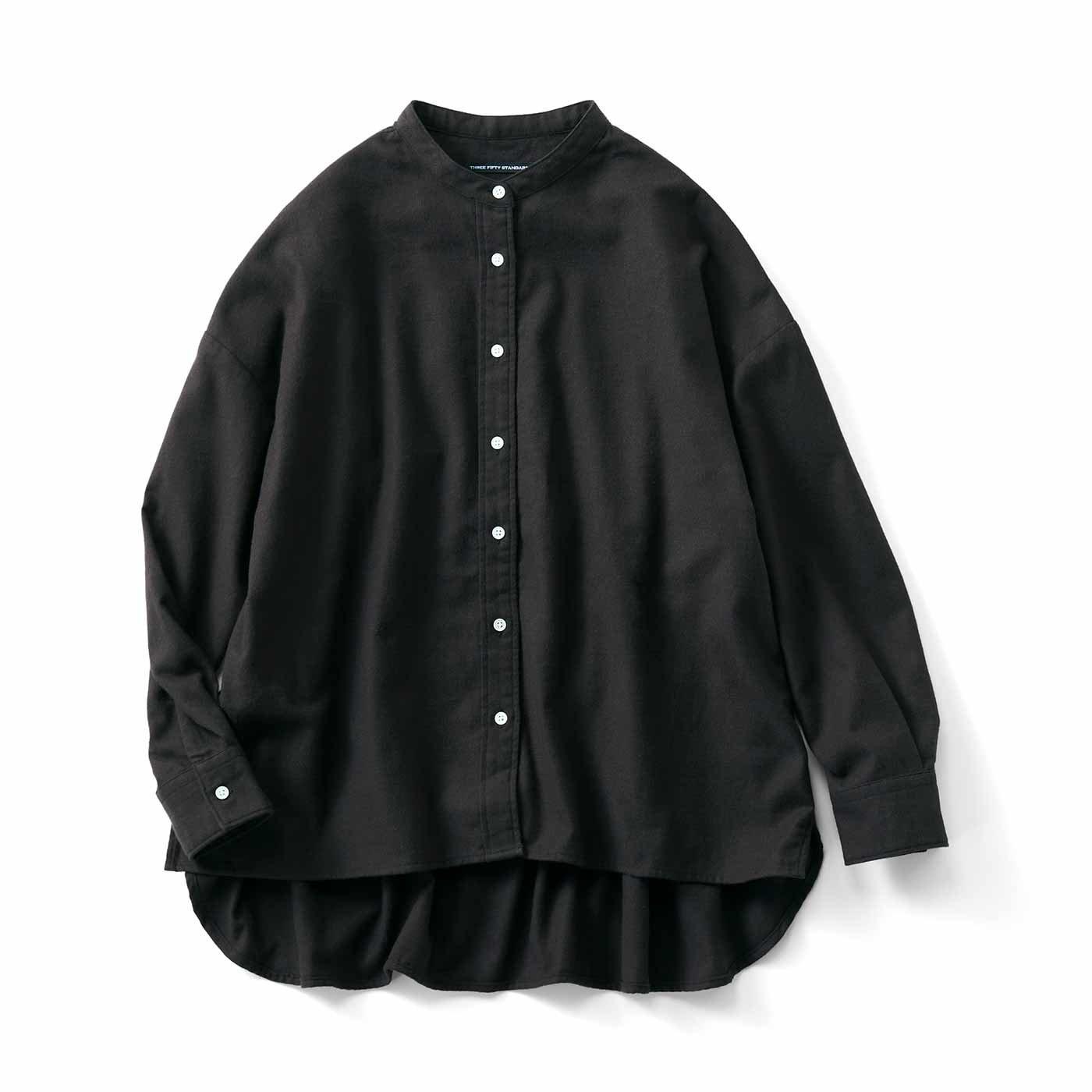 THREE FIFTY STANDARD やわらか起毛のスタンドカラーシャツ〈ブラック〉