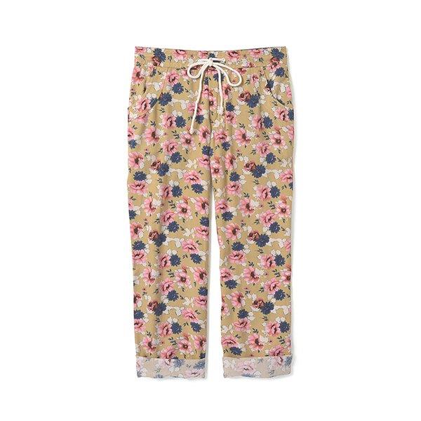 NUSY やわらか素材のレトロな花柄のハンパ丈パンツ:ローズ