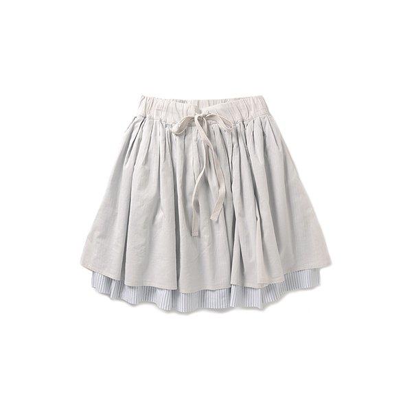 haco.FACTORY ちらりストライプの2重ボリュームスカート:ライトグレイ×ホワイト