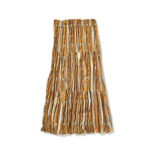 エフネ 長方形シルエットですっきりみせ 南仏リゾート柄のミディ丈くしゅくしゅスカート(マスタード)