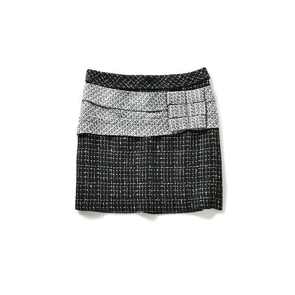 エムトロワ プレゼントみたいなツイードリボンスカート:ブラック×ホワイト