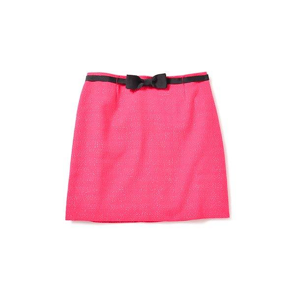 エムトロワ グログランリボンがポイントのリボンベルト付きツイードスカート:ローズピンク