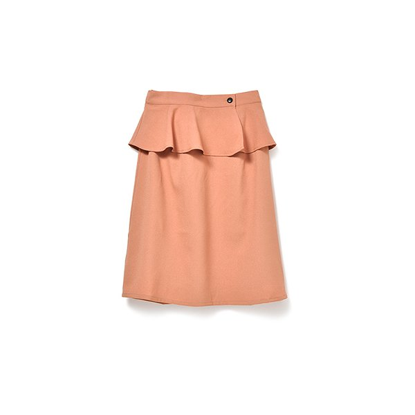 着まわし力アップ 取り外せるぺプラム付きスカート(ピンクオレンジ)