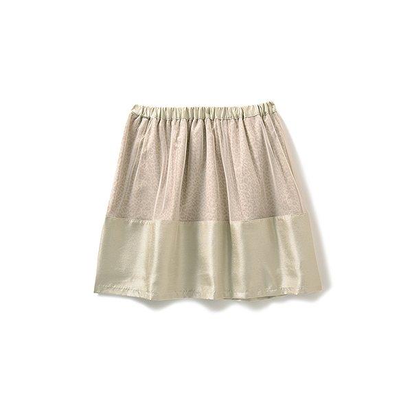 エムトロワ ヒョウ柄にベールをかけたふんわりスカート:シャンパンゴールド