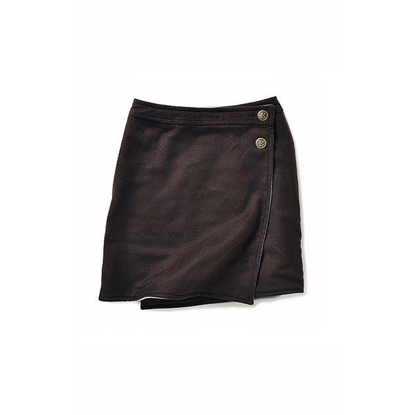 エムトロワ  ブランケットみたいなリバーシブルスカート:ブラウン