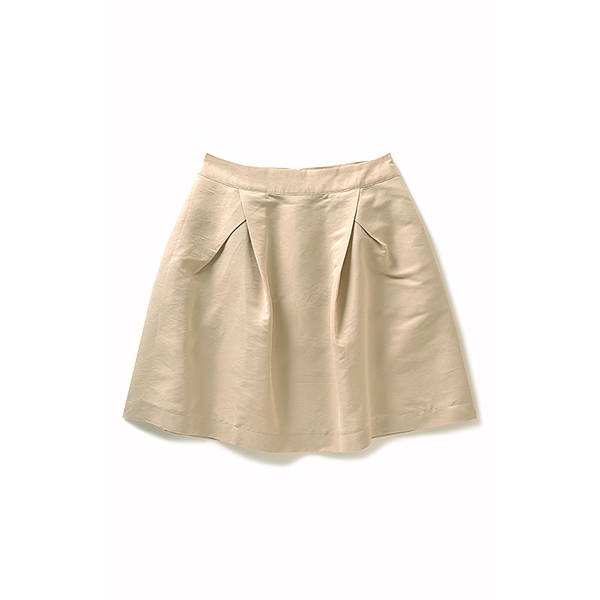 NUSY  グログラン素材のシルエットスカート:ベージュ