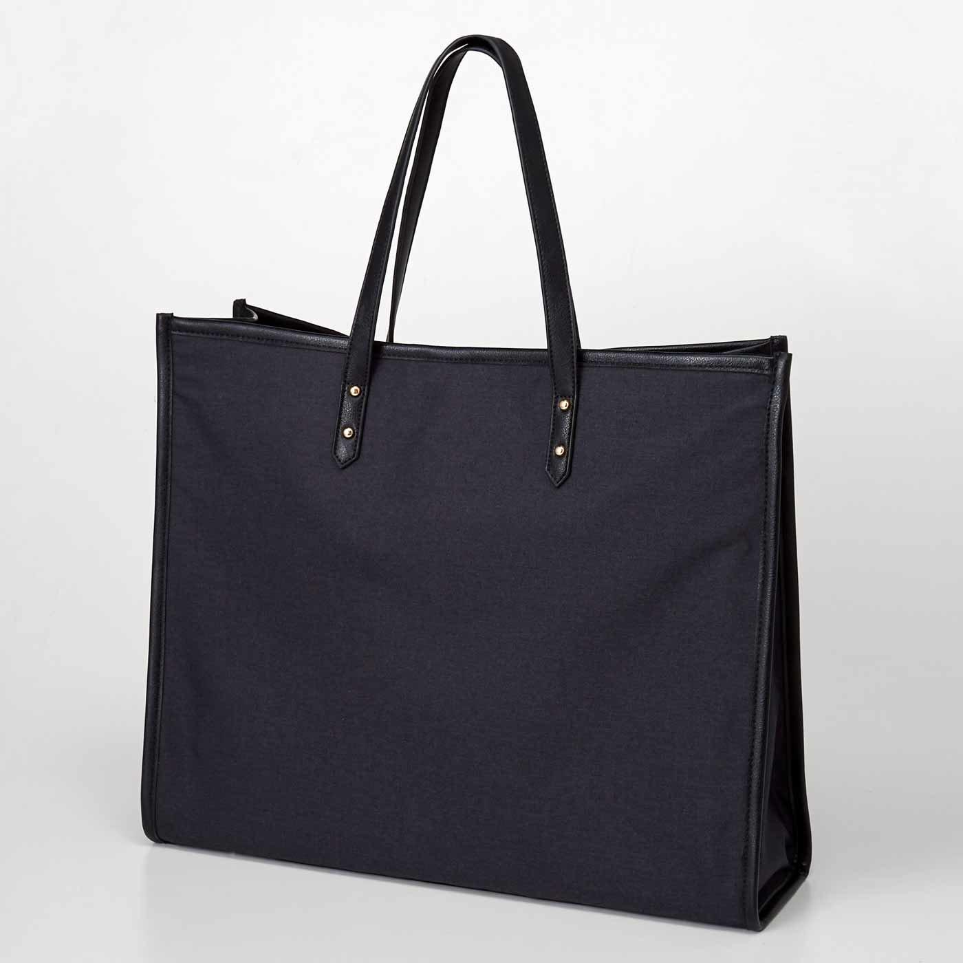 OSYAIRO ジャンボうちわが入るパイピングトートバッグ〈ブラック〉