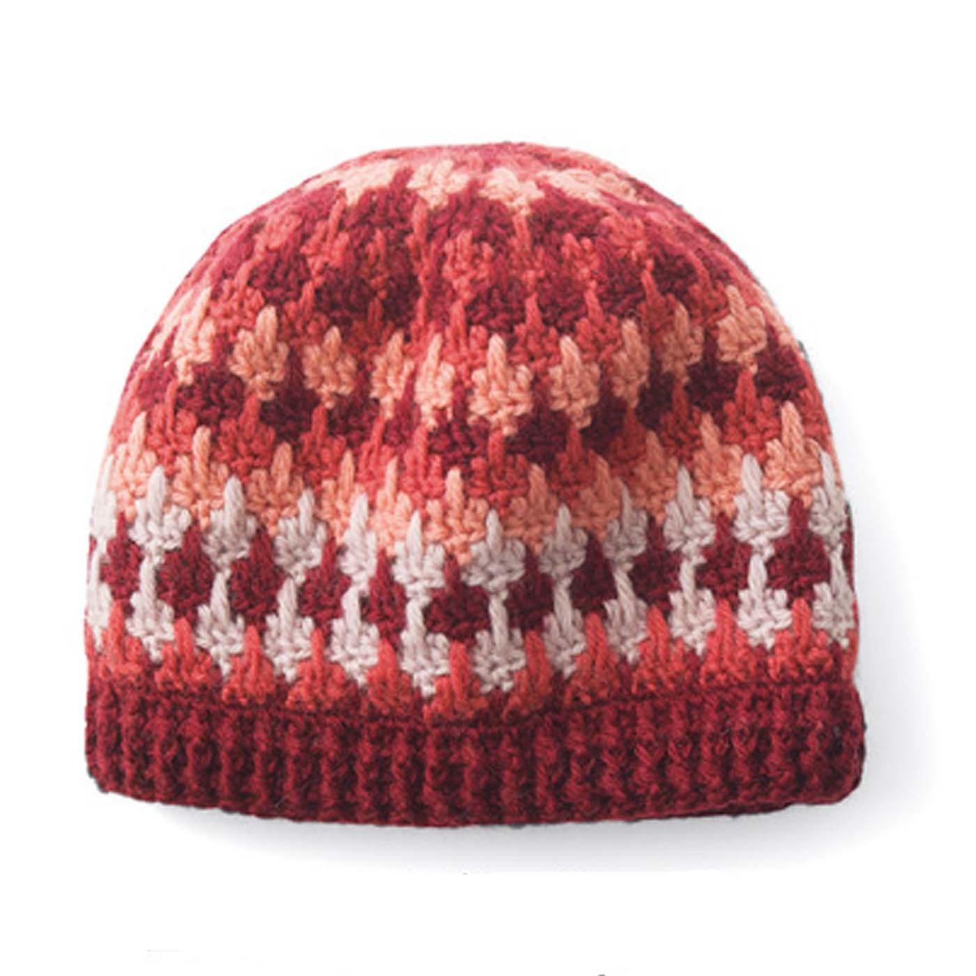 模様編みパターンを楽しむ レトロ風かぎ針編みニット帽子
