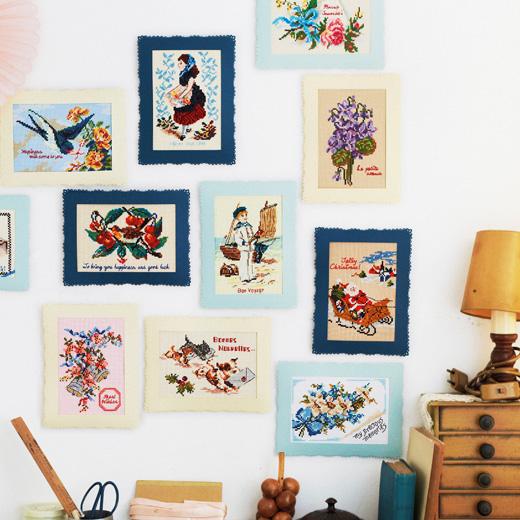 クラシカルな魅力がお部屋を彩る アンティークカードのモチーフを描くクロスステッチ