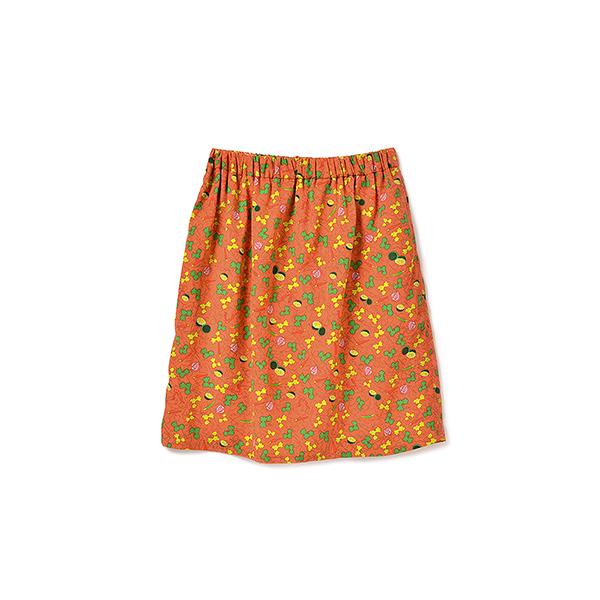 フェリシモ パクチーガールへおくる パクチー柄スカート:オレンジ