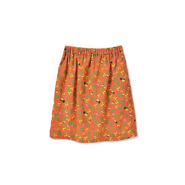 パクチーガールへおくる パクチー柄スカート:オレンジ