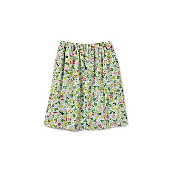フェリシモ パクチーガールへおくる パクチー柄スカート:ホワイト×グリーン