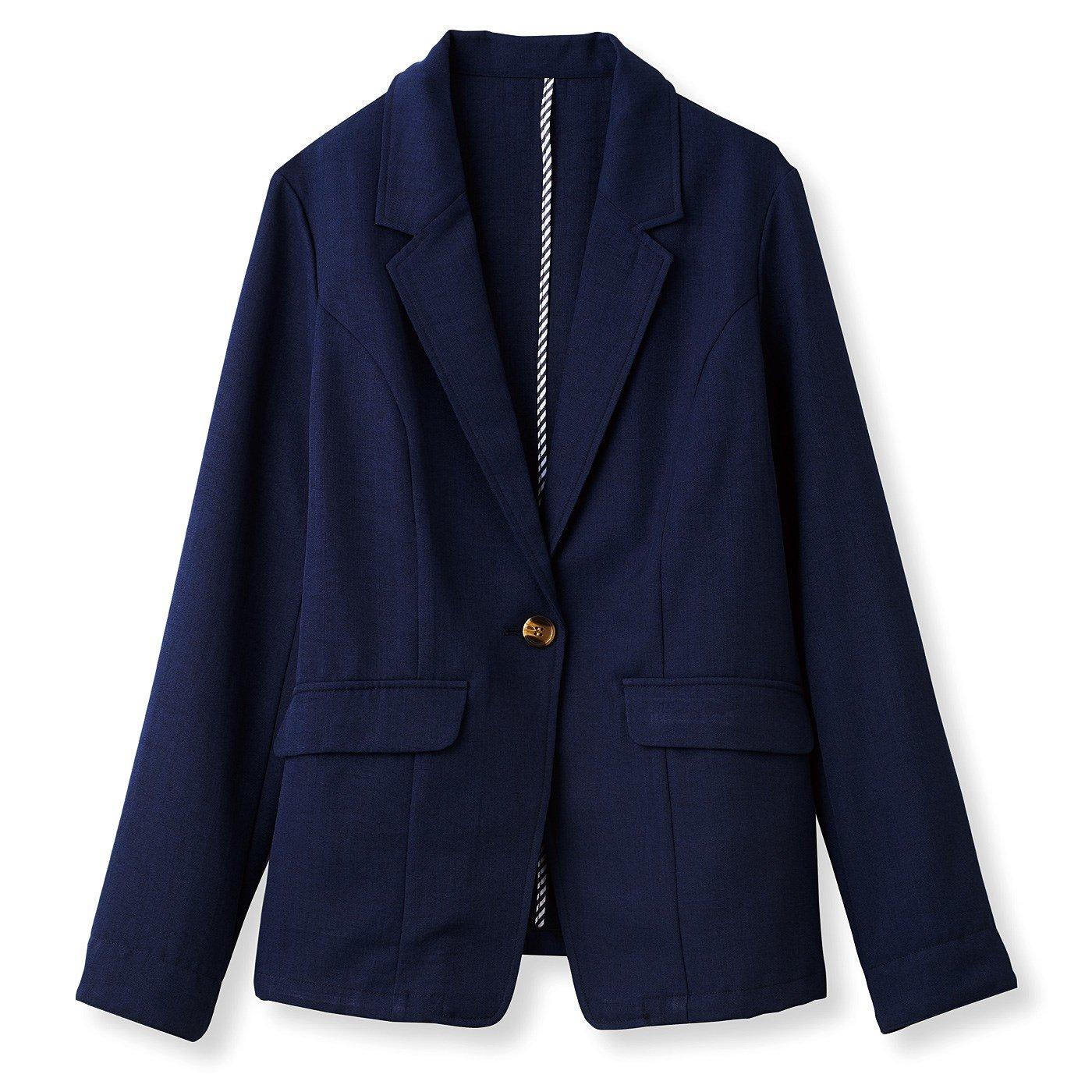 DRECO リネンライクな涼感のある 軽やかサマージャケット<ネイビー〉