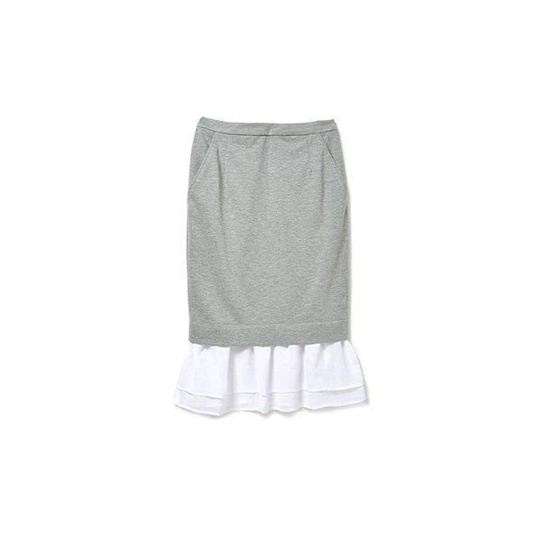 .fr 軽やかなシフォンのドッキングスカート:グレイ