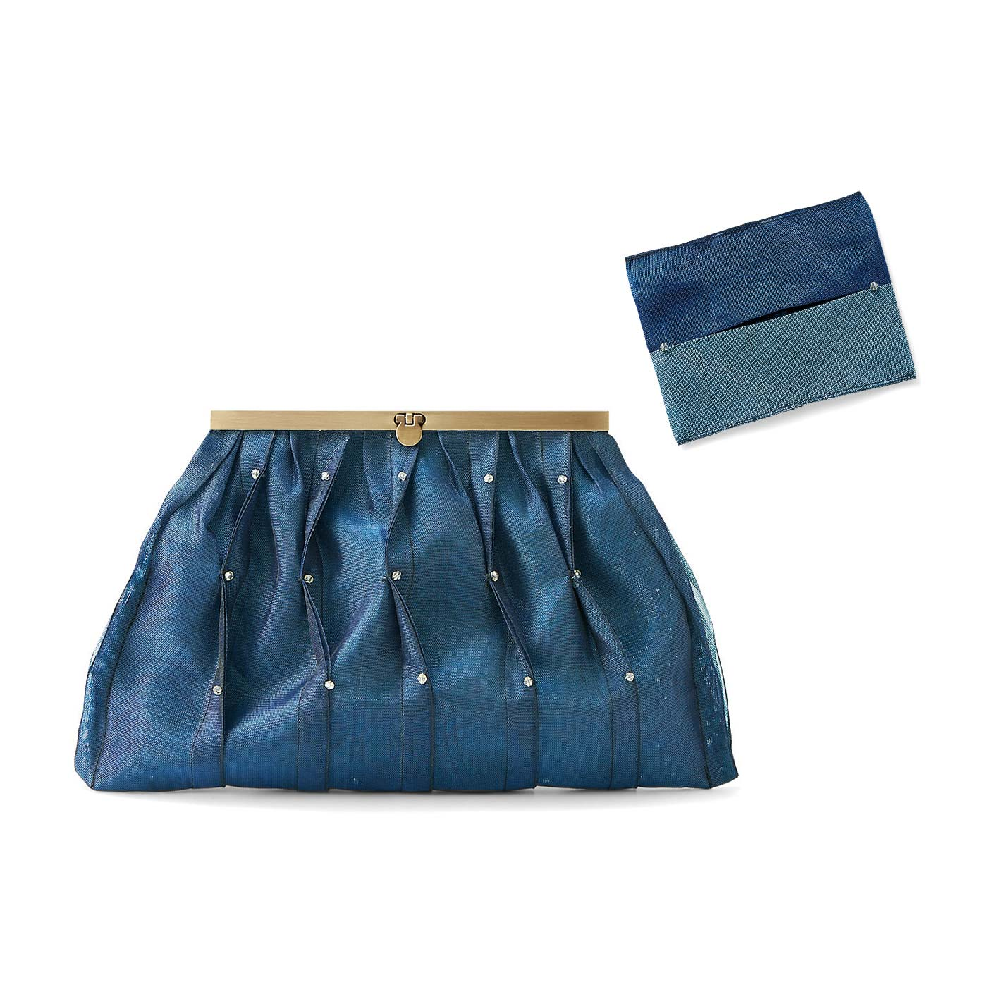 藍(あい)色のクラッチバッグとティッシュケース クラッチバッグ:縦約18cm、横約32cm、まち幅約3cm ティッシュケース:縦約9.5cm、横約12.5cm