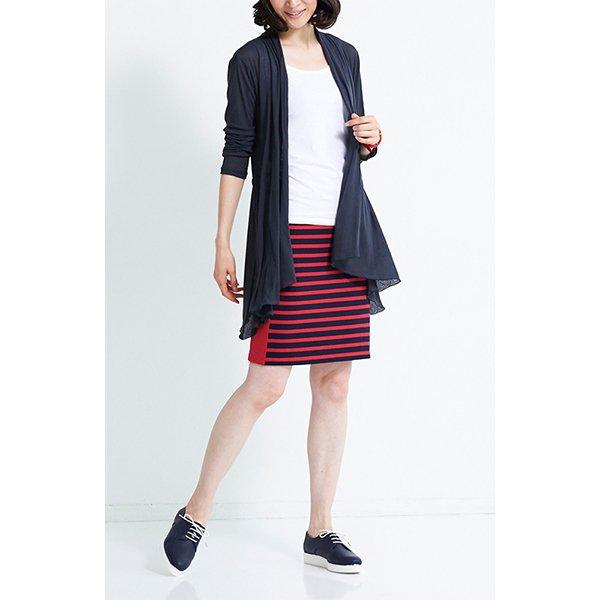 HIROMI YOSHIDA. 細見えカットソーボーダースカート〈レッド〉