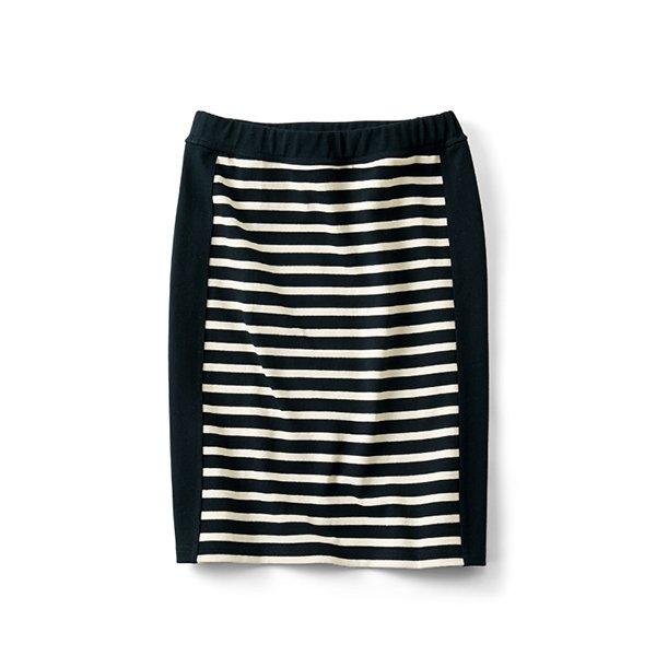 HIROMI YOSHIDA. 細見えカットソーボーダースカート〈ブラック×ホワイト〉