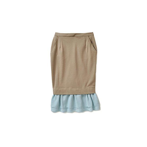 .fr 軽やかなシフォンのドッキングスカート:ベージュ×ライトブルー