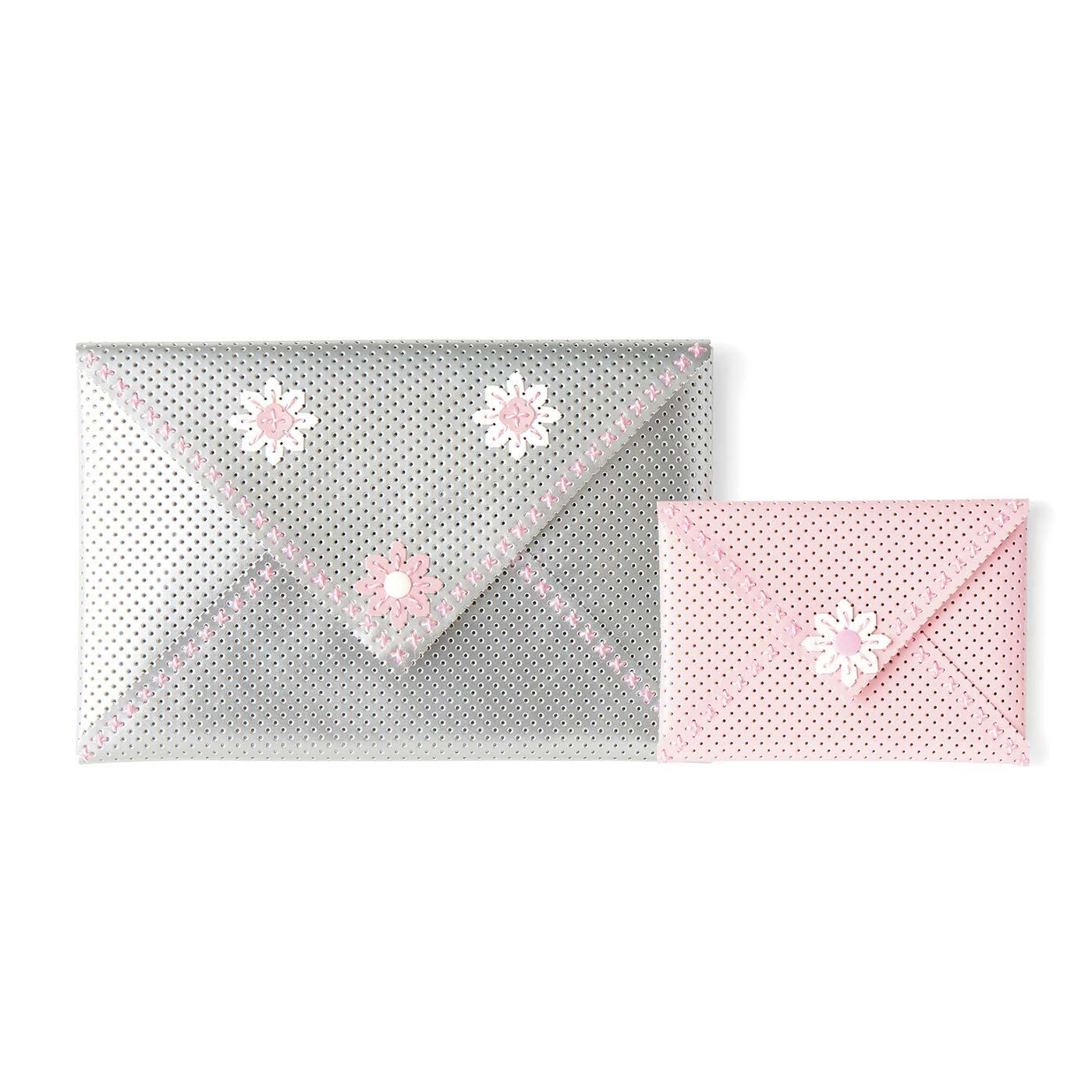 Enveloppes ? fleurs(アンヴロップ・ア・フルール)(封筒形ポーチセット) 大:縦約16cm、横約24cm 小:縦約10cm、横約14cm