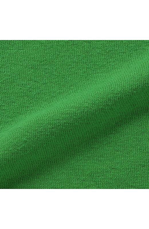 パイルが気持ちいい 丈長トレーナーのビッグモチーフコーディネイト(グリーン×ダークグレイ)