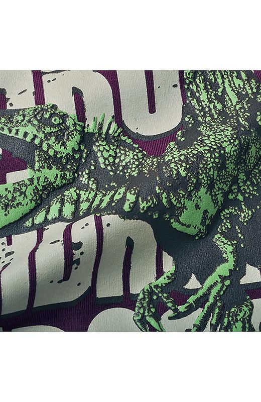 発泡プリントで恐竜の立体感を表現。今にも動き出しそう!