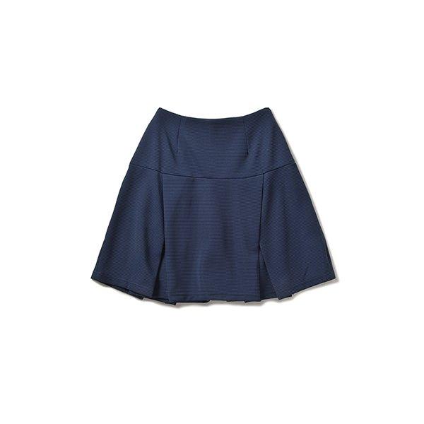 エムトロワ 波みたいな表面感がかわいいカットソーペプラムスカート:ネイビー