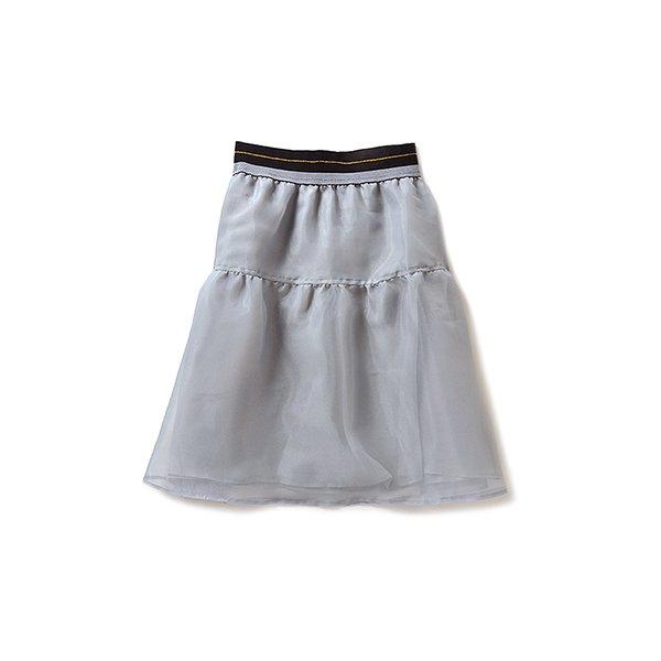SHE THROUGH SEA #ワイドウエストゴムのオーガンジースカート:グレイ
