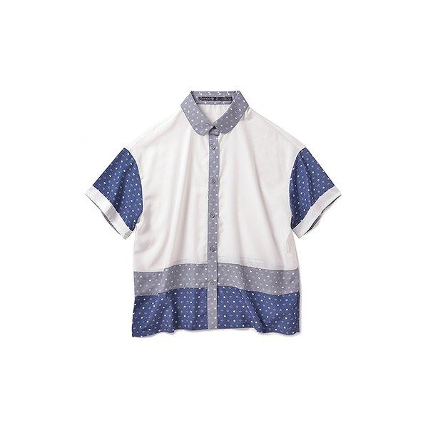 リス クロース オリジナルモノグラムの切り替えシャツ:ホワイト×グレイ×ブルー