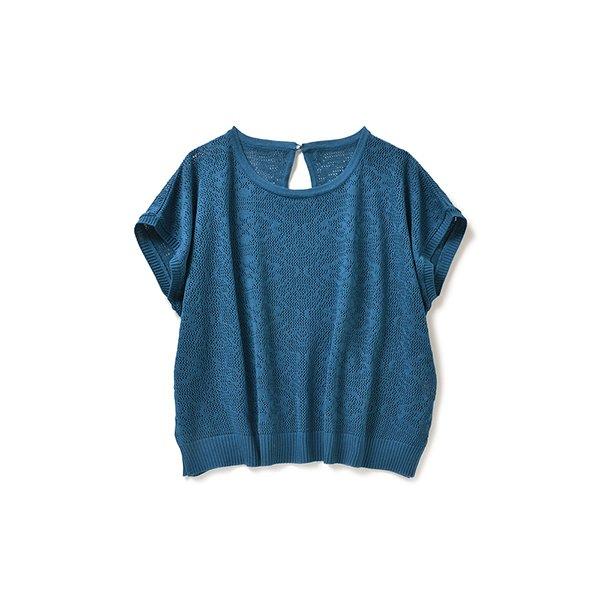 ちょっぴりレトロなレース編みトップス(ブルー)