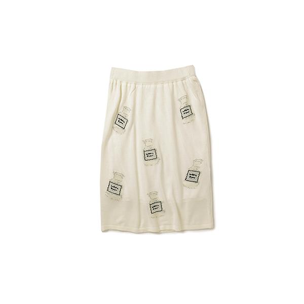 ロジーズ 蚤(のみ)の市モチーフのジャカードニットスカート:ホワイト