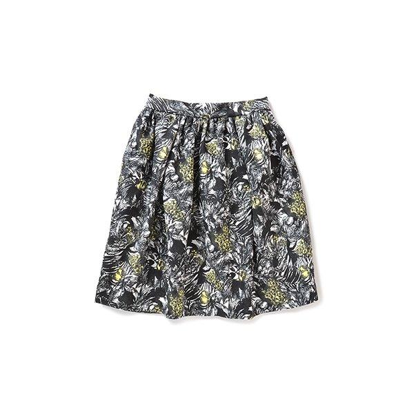 ララ・ステラ コーディネイトがぱっと華やぐ大人ボタニカル柄スカート(イエロー×モノトーン)