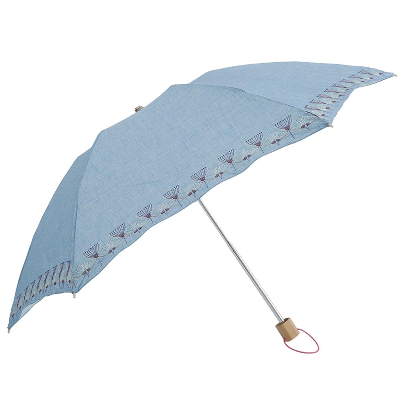 フェリシモ IEDIT[イディット] SELECT korko ウルリクスダール城の庭園をイメージした刺繍の 晴雨兼用折りたたみ日傘〈サックスブルー..